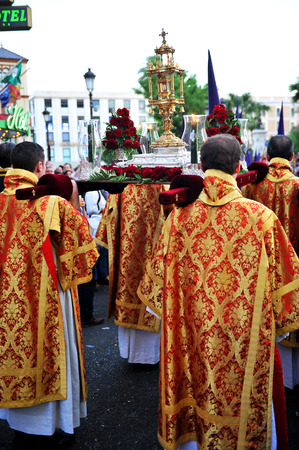 Holy Week, Religious procession in Seville, Andalusia, Spain Stock Photo