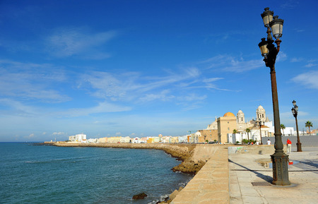 Campo del Sur, panoramic view of the city of Cadiz and the Atlantic Ocean, Andalusia, Spain
