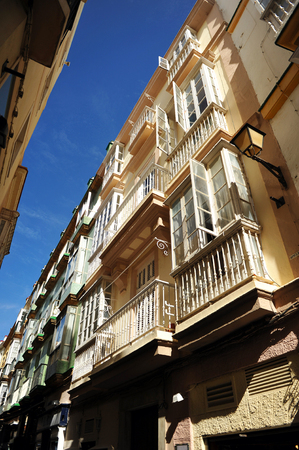 touristy: Streets of Cadiz, luminous city of southern Europe, Andalusia, Spain Stock Photo