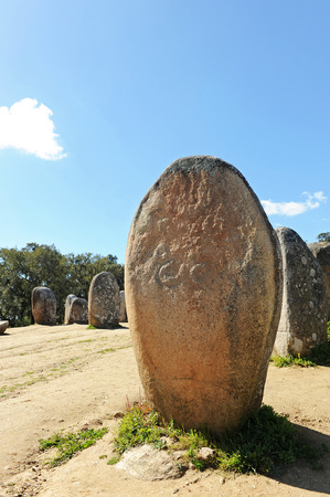 megaliths: Almendres Cromlech, Cromeleque dos Almendres, Alentejo, Portugal, Southern Europe Stock Photo