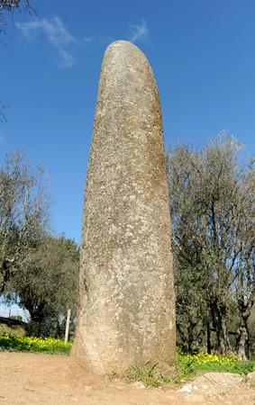 Almond menhir, menhir dos Almendres, Alentejo, Portugal, Southern Europe