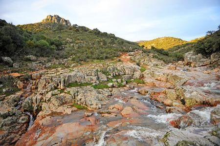 Chorrera de los batanes in the Cereceda River, Fuencaliente, province of Ciudad Real, Castilla la Mancha, Spain Banco de Imagens