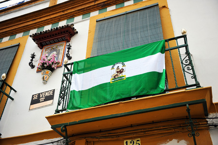autonom�a: Balcony with flag of Andalusia, Andalusia Day celebration