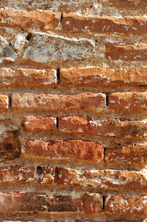 Old red brick wall, background and texture Stock Photo
