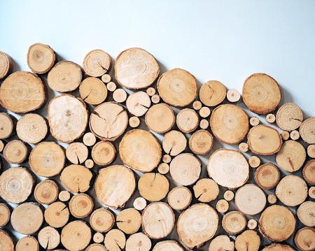 Birch wood logs, decoration and interior
