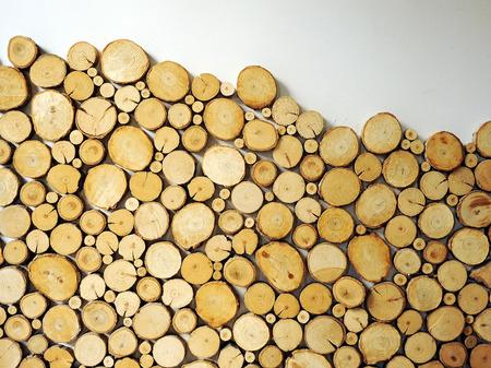 Birch wood logs, decoration and interior Stock Photo