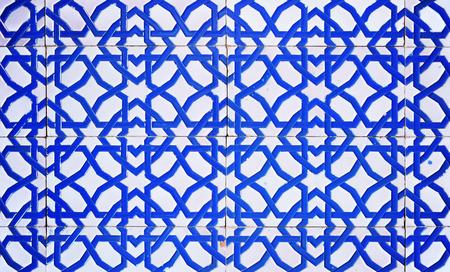 socle: closeup of a tile plinth in moorish style