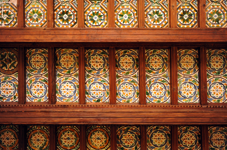 Coffered ceiling tiles and wooden beams, Cartuja of Seville, Andalusia, Spain Banque d'images - 106711471