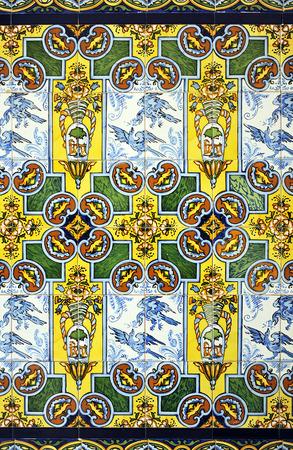 socle: socle of polychrome tiles (azulejos) style Art Nouveau, decorative mosaic