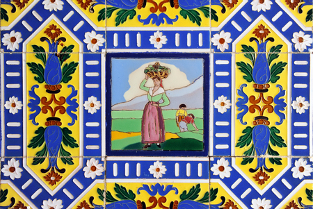 Antique decorative mosaic of tiles, design inspired by the characters in the paintings of the painter Goya