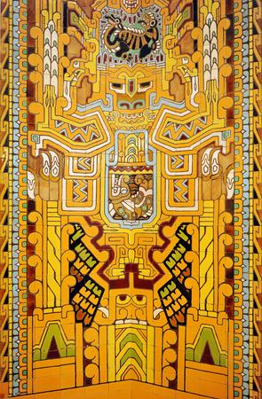 polychromatic: Antique decorative mosaic of azulejos, indian motif Stock Photo