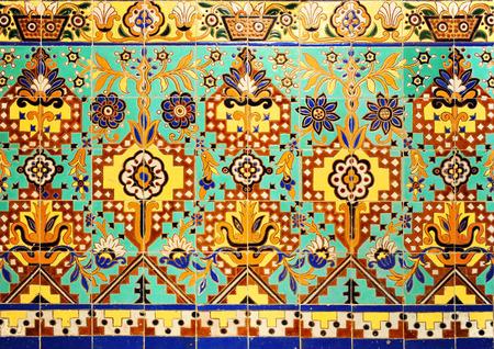 polychromatic: Decorative mosaic of tiles, exotic design, indian motif