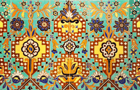 detail: Detail of decorative mosaic of tiles, exotic design, indian motif