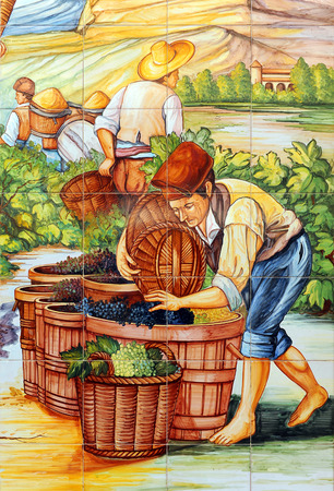 The grape harvester, old mosaic of tiles