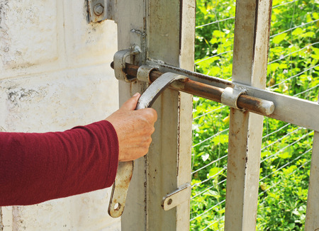 door bolt: Close the iron door a country house with bolt