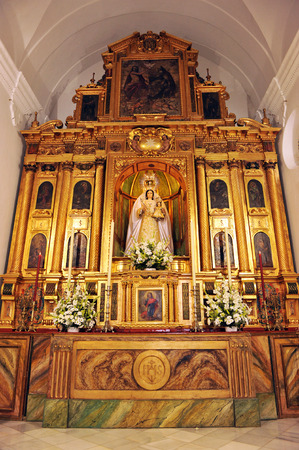 altarpiece: Altarpiece of the church of Our Lady of the Star with the image of the Virgin of the star, Palomares del Rio, Sevilla, Spain Editorial