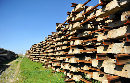 locomotion: Railroad material obsolete, Concrete sleepers stacked outdoors