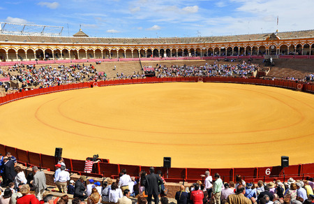 the famous Maestranza bullring in Seville ready for a bullfight, Andalusia, Spain Editorial
