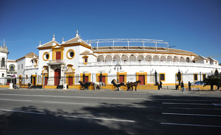 the famous Maestranza bullring in Seville, Andalusia, Spain Editorial