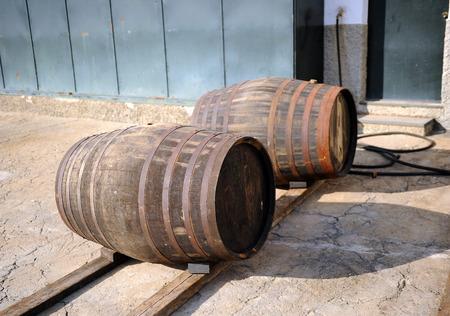 casks: Casks in the cellar, loading dock