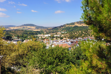 Panoramic view of El Bosque in the Grazalema Natural Park, white villages of the Sierra de Cadiz, Andalusia, Spain