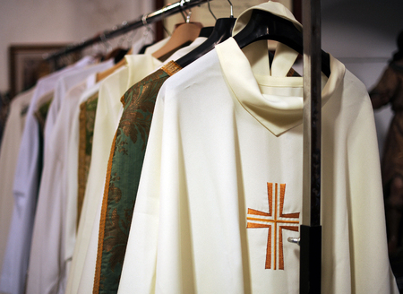 Inside the sacristy of a catholic church, chasubles for priests