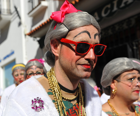 troupe: people during the famous carnival of Fuente de Cantos, province of Badajoz, Extremadura, Spain