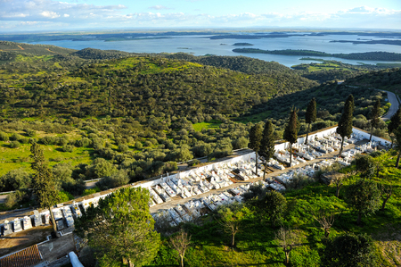 southern europe: the great Alqueva dam seen from the village of Monsaraz, Alentejo region, Portugal, Southern Europe Stock Photo