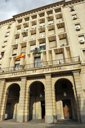 magistrates: Courthouse (Juzgados), Palace of Justice in Seville, Spain Editorial