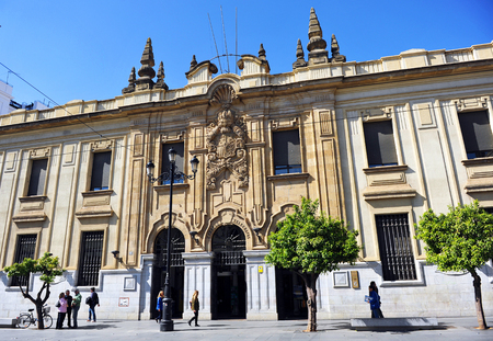 post office: Great Central building of Post Office (Correos) in Seville, Andalusia, Spain Editorial