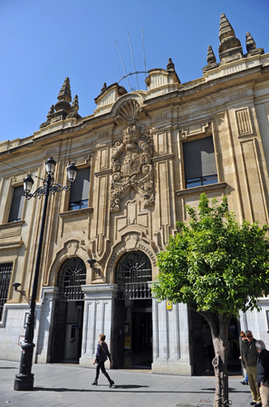 Great Central building of Post Office (Correos) in Seville, Andalusia, Spain Editorial