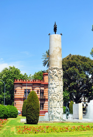 square of the volunteer sailors, tribute to Juan Sebastian Elcano, Sevilla, Spain Stock Photo