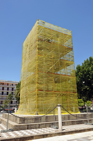 tree works: the monument of King san fernando during the cleanup and restoration, Plaza Nueva in Seville, Spain