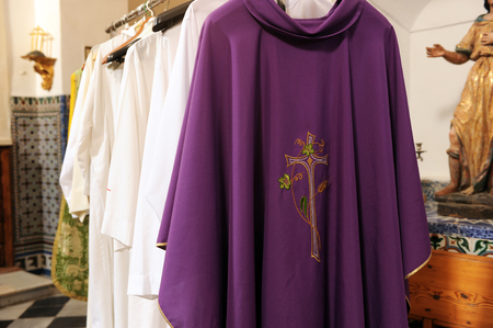 liturgical: chasubles for priests on the inside of the sacristy of a Catholic church