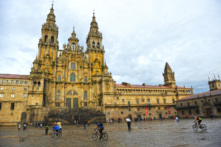 Cathedral of Santiago de Compostela in the rain, Spain Stock Photo
