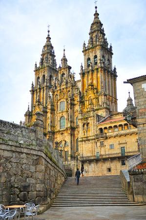 성당 산티아고 데 컴 포 스텔라, 산티아고, 스페인의 방법 스톡 콘텐츠
