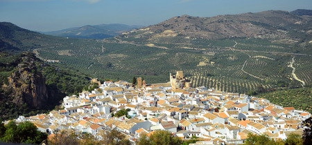 Panoramic of Zuheros, village of Cordoba province, Andalusia, Spain Stock Photo
