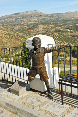 Sculpture of a child, Balcony of the Adarve in Priego de Cordoba, Andalusia, Spain