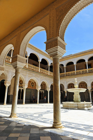 Yard of the Palace House of Pilatos in Seville, Andalusia, Spain