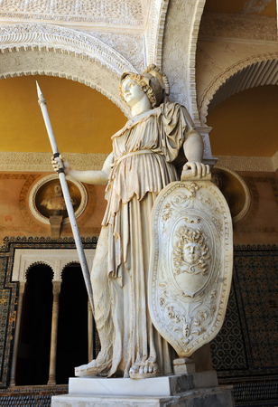 Athena, Greek mythology, roman sculpture in the House of Pilatos, Seville, Andalusia, Spain