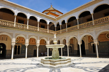 Renaissance courtyard of the Palace House of Pilatos in Seville, Andalusia, Spain