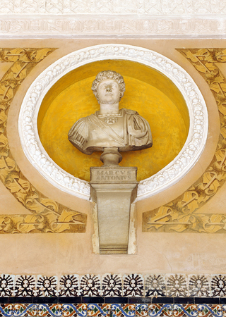 general cultural heritage: Marcus Antonius, Roman General, Palace of the House of Pilate in Seville, Spain Editorial