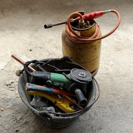 blowtorch: Gas blowtorch and plumber tools