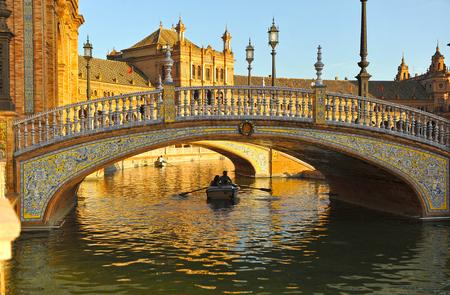 Ceramic bridge in Plaza of Spain, Maria Luisa Park in Seville, Spain, Europe