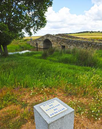 Medieval bridge of Santiago de Bencaliz, province of Cáceres, Spain Stock Photo