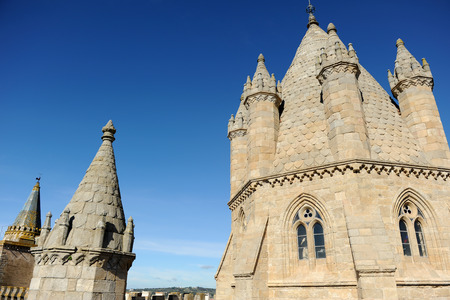 Dome of the Cathedral Basilica of Our Lady of the Assumption in Evora, Portugal