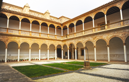 The cloister of the convent of the Assumption of Calatrava in Almagro, Castilla la Mancha, Spain
