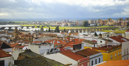 bridge over water: Panoramic view of Badajoz and the Guadiana River from the Alcazaba, Spain Stock Photo
