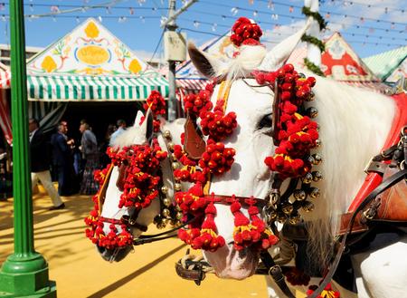 Horse carriage at Sevilla Fair, Fiesta in Spain Stock Photo