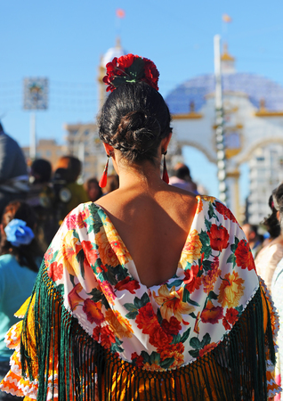 Andalusian woman, Spanish beauty, Fair in Seville, Spain